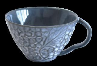 花彫り スープカップ グレー