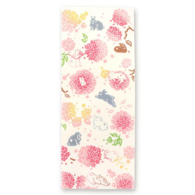 癒しのうさぎが隠れてる注染手拭い 毬桜とうさぎ