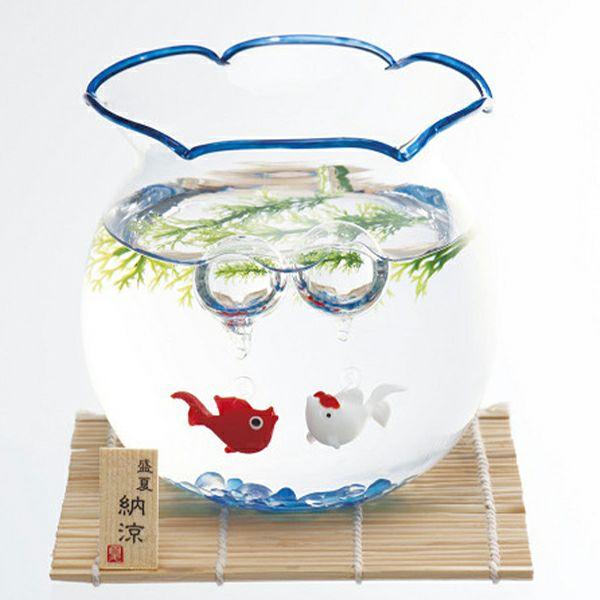 昔ながら金魚鉢 涼しげな青