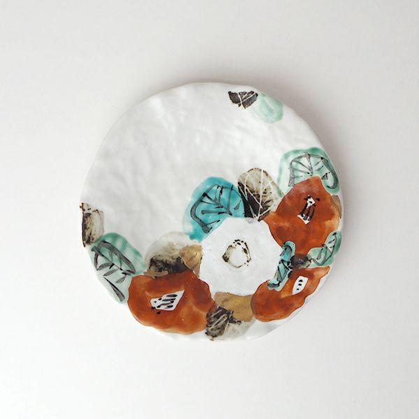 和田一人さんの椿 5寸皿
