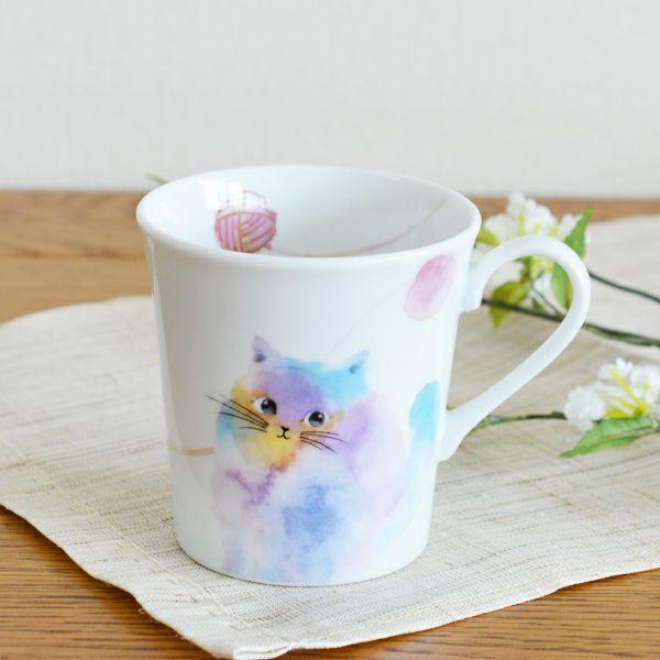 モコ猫マグカップ ブルー