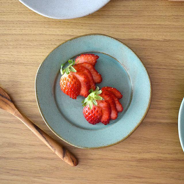 一洋陶園 oribe pottery ワイドリム12丸皿 ミント