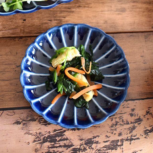 ぎやまん陶 3寸皿 ナス紺ブルー