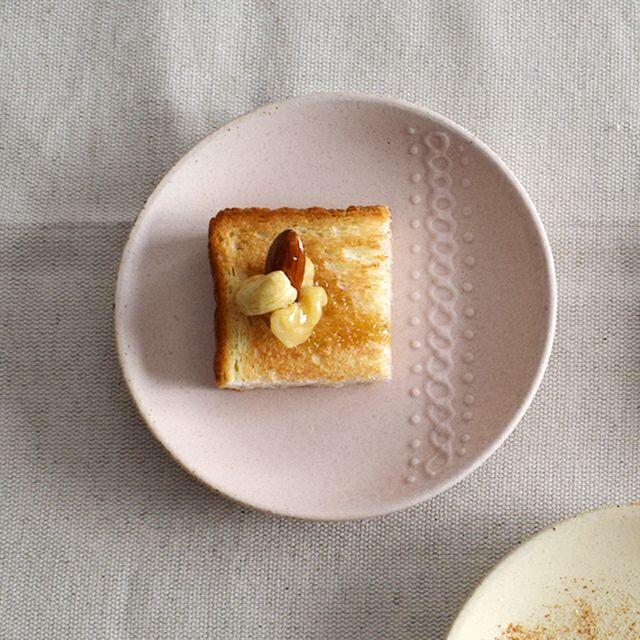 ニット コーヒー丸皿 ピンク