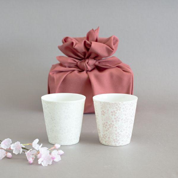 銀彩桜ペアカップ