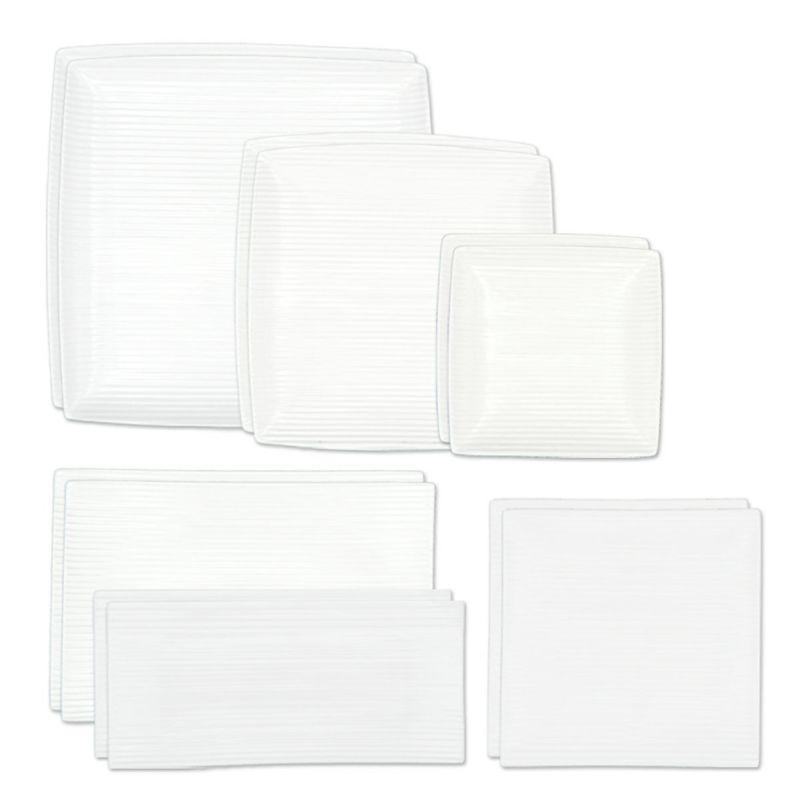 軽量ホワイトライン 二人暮らしセット 正角皿 S M L 正角取皿 長角皿 S M 2枚ずつセット 白い食器 6種類12点セット