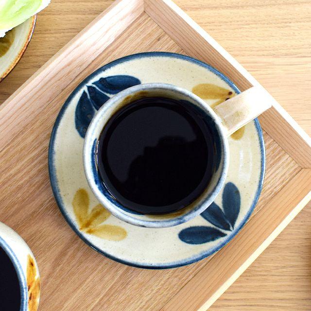 琉球コーヒー丸皿大 三つ葉
