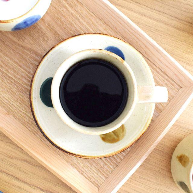 琉球コーヒー丸皿大 三彩