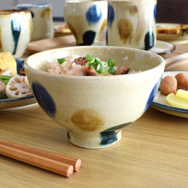 琉球高台飯碗 三彩
