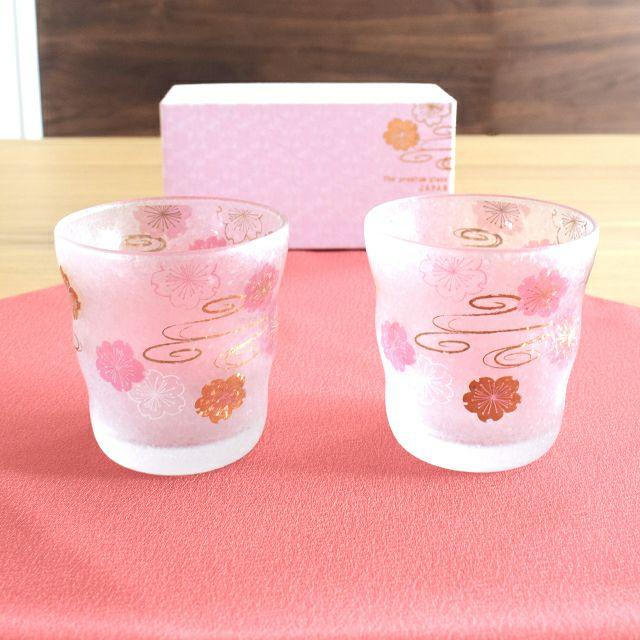 桜水紋ロックグラスペアセット